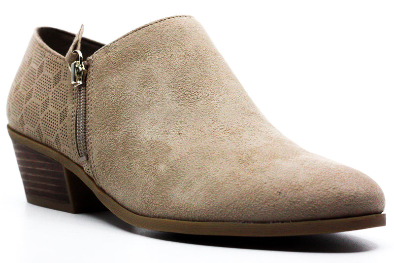 Yieldings Discount Shoes Store's Brief Suede Ankle Booties by Dr. Scholl's American Lifestyle Collection in Putty