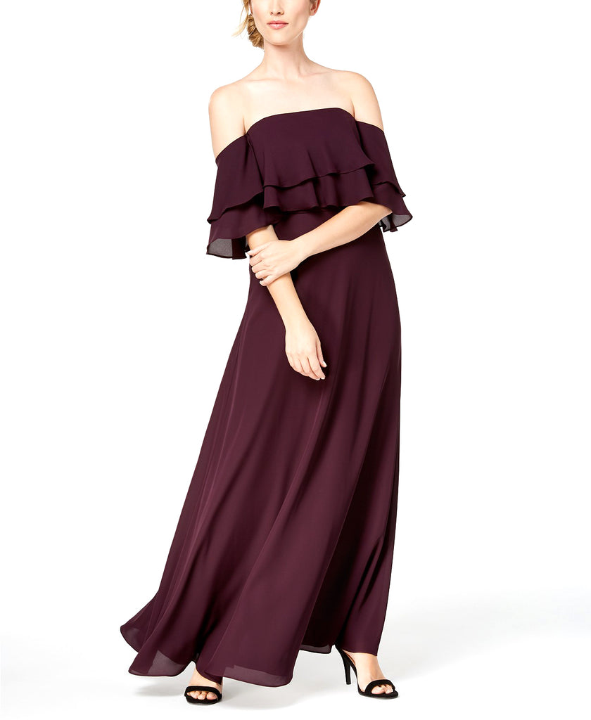 Yieldings Discount Clothing Store's Tiered Flounce Gown Off The Shoulder Dress by Calvin Klein in Purple