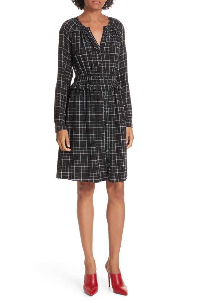 Yieldings Discount Clothing Store's Ruffled Plaid Silk Dress by Rebecca Taylor in Black
