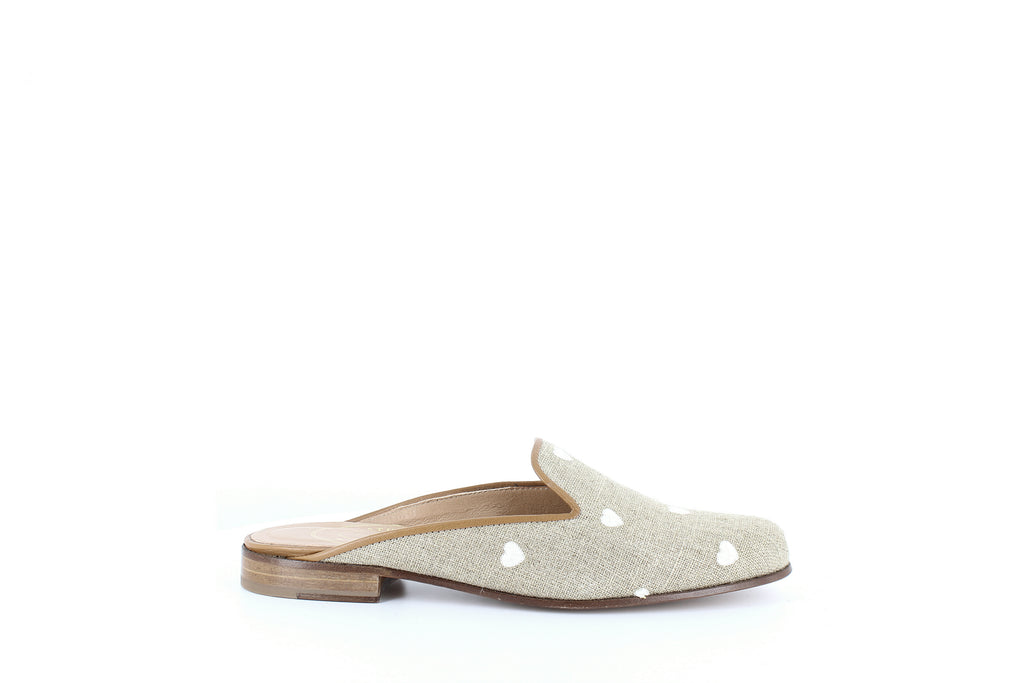 Yieldings Discount Shoes Store's Hearts Gleam Mules by Stubbs & Wootton in Gold