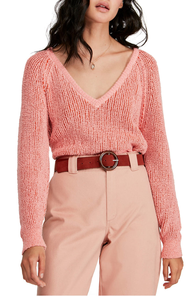 Yieldings Discount Clothing Store's Cropped V-Neck Sweater by Free People in Hot Tropics