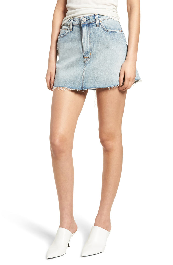 Yieldings Discount Clothing Store's Frayed Cotton Denim Skirt by Hudson in High and Dry