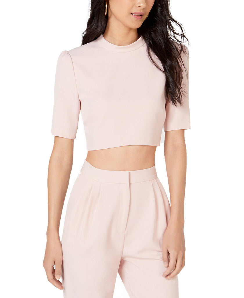 Yieldings Discount Clothing Store's Cropped Mock Neck Top by Leyden in Powder Pink