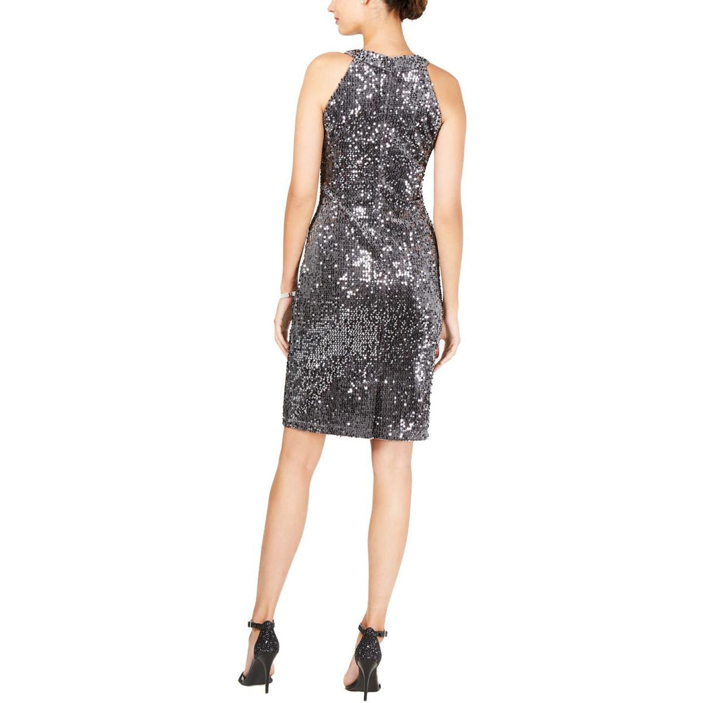Yieldings Discount Clothing Store's Velvet Cocktail Sheath Dress by R&M Richards in Charcoal