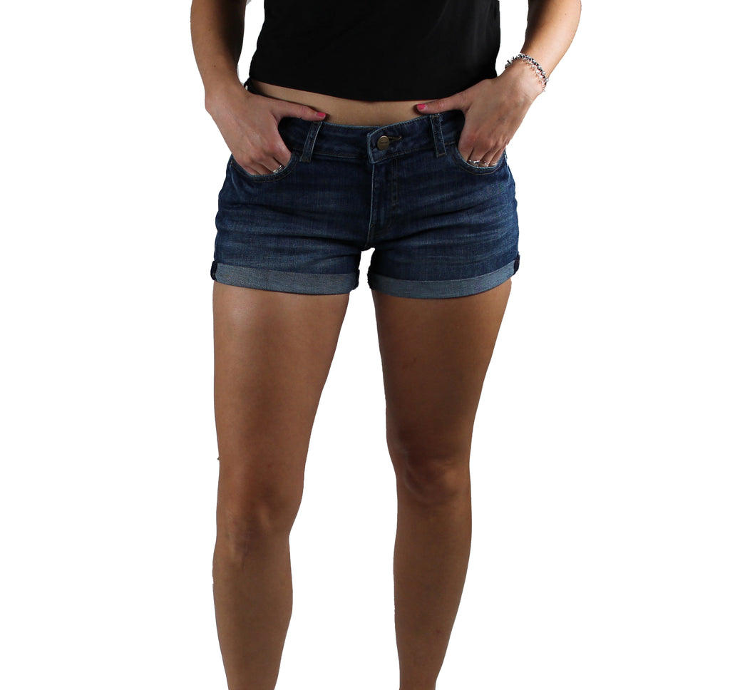 Yieldings Discount Clothing Store's SYD - Mid-rise Shorts by Warp + Weft in Mid Wash
