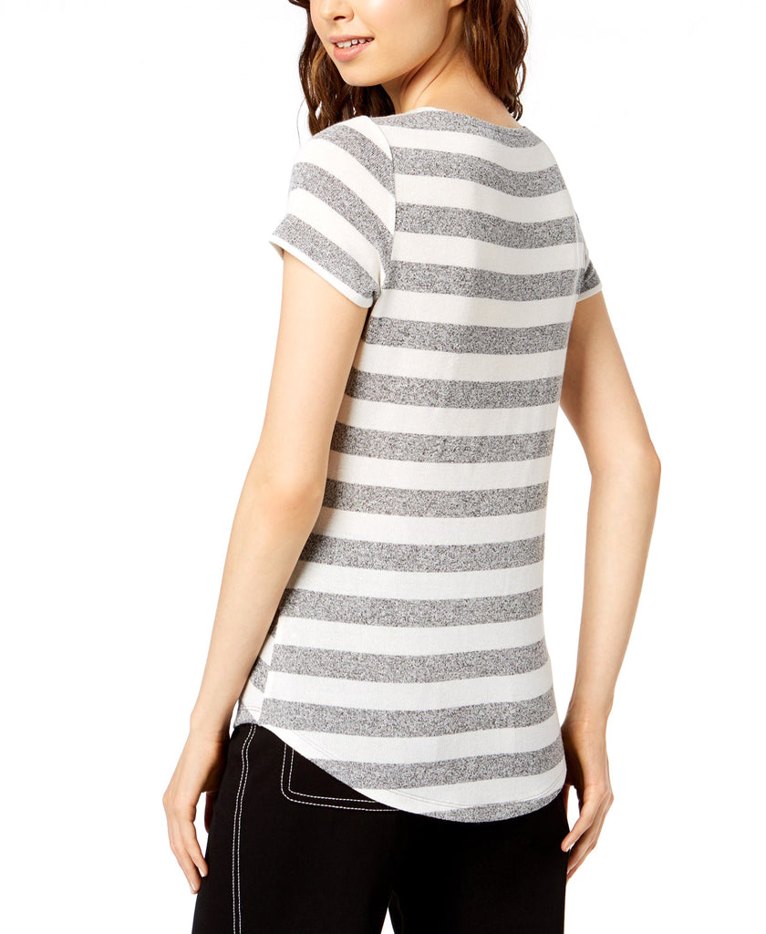 Yieldings Discount Clothing Store's Striped T-Shirt by Bar III in Grey White Stripe