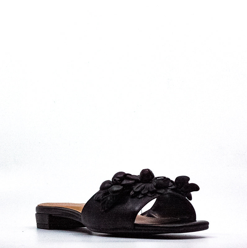Yieldings Discount Shoes Store's Pin Down Leather Slides by Aerosoles in Black