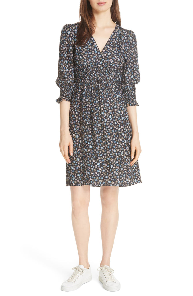 Yieldings Discount Clothing Store's Zelma Floral Silk Dress by Rebecca Taylor in Black