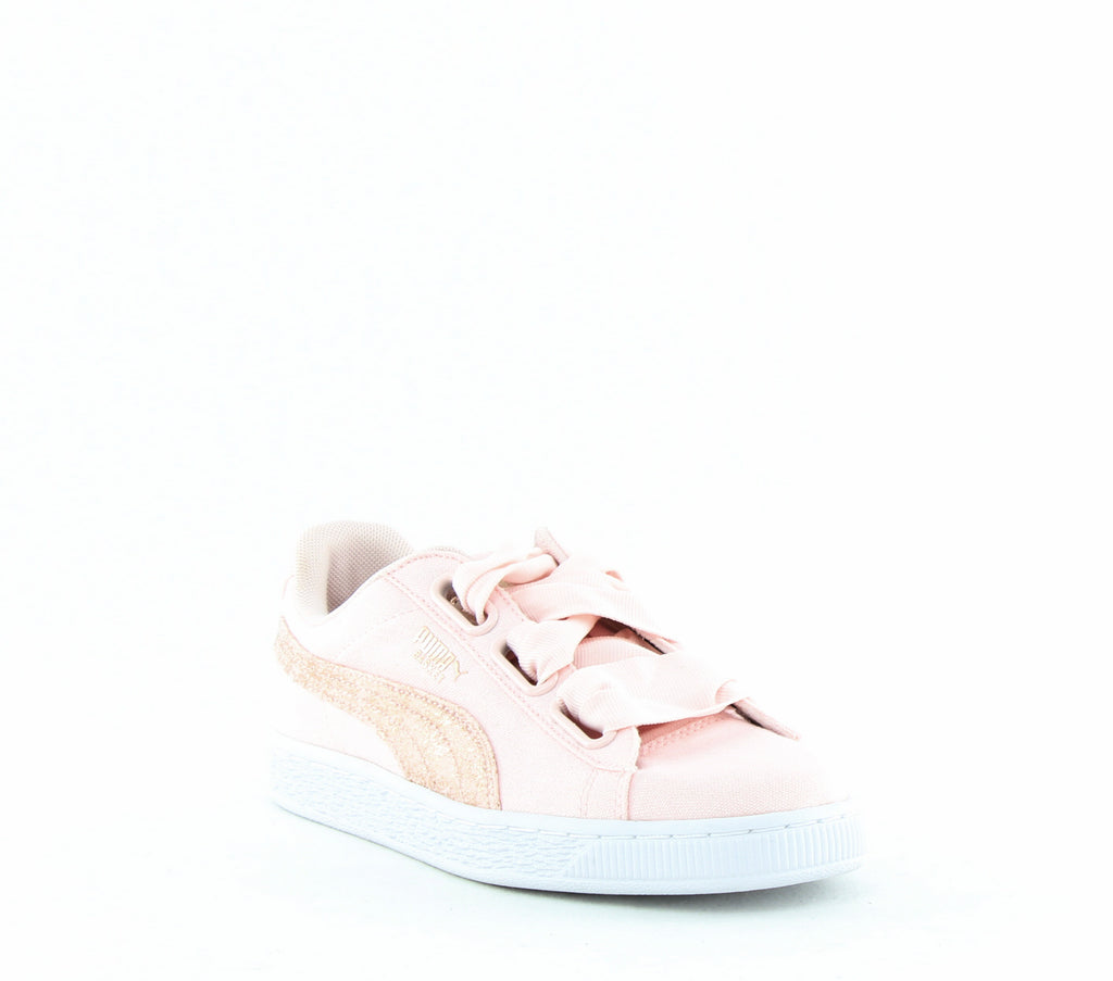 Yieldings Discount Shoes Store's Basket Heart Canvas Sneakers by Puma in Pearl/White/Rose Gold