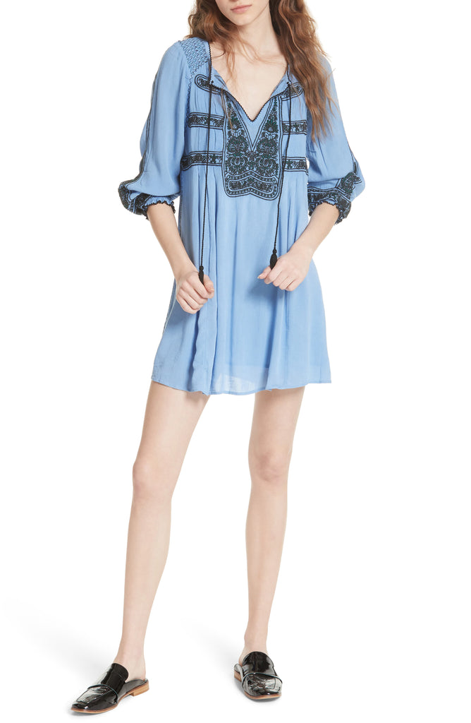 Free People | Embroidered Long Sleeve Keyhole Mini Trapeze Dress