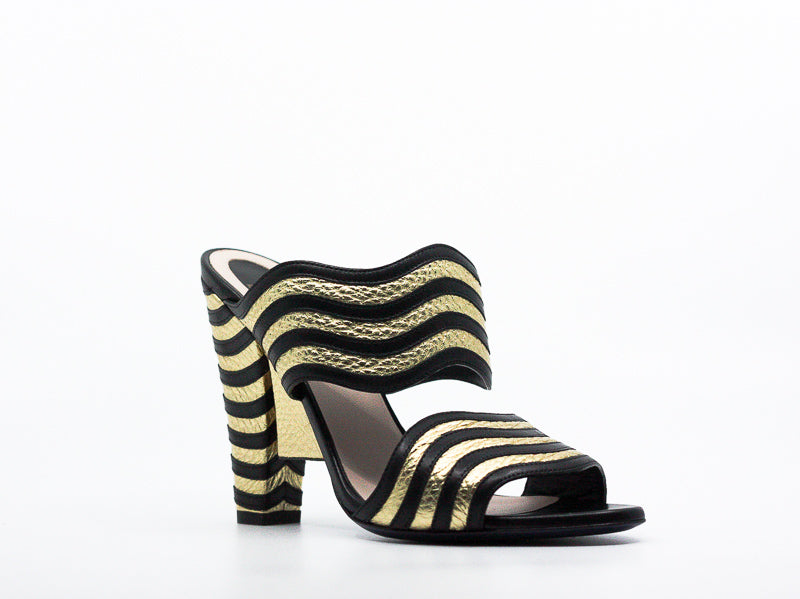 Yieldings Discount Shoes Store's Hypnoteyes Gold and Black Block Heels by Fendi in Black/Gold