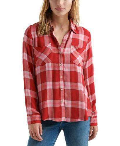 Yieldings Discount Clothing Store's Plaid Button-Down Shirt by Lucky Brand in Red Multi