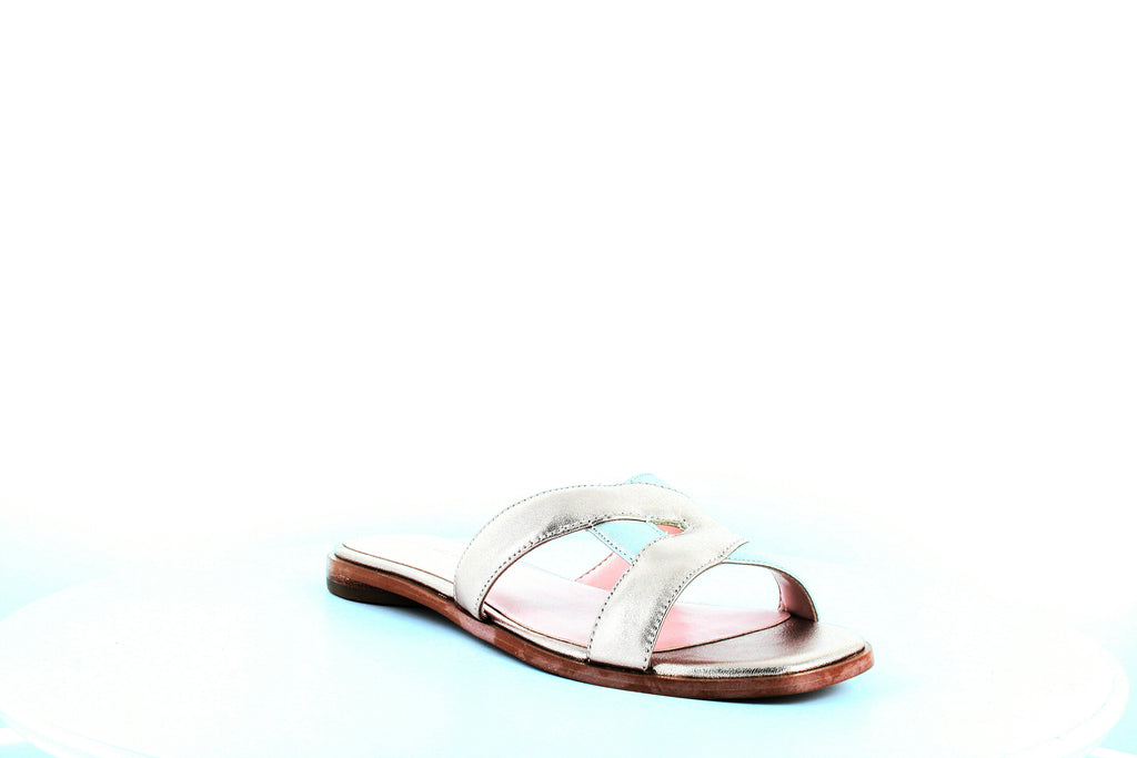 Yieldings Discount Shoes Store's Blaye Flat Sandals by Avec Les Filles in Avec Pink Metal