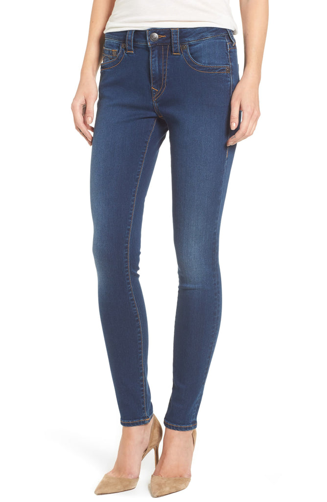 Yieldings Discount Clothing Store's Jennie Curvy Mid Rise Skinny Jeans by True Religion in Indigo