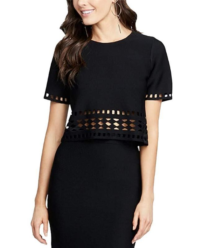 Yieldings Discount Clothing Store's Cropped Knit Top by RACHEL Rachel Roy in Black