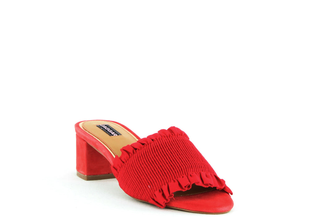 Yieldings Discount Shoes Store's Stitched Block Heel by Jaggar in Red