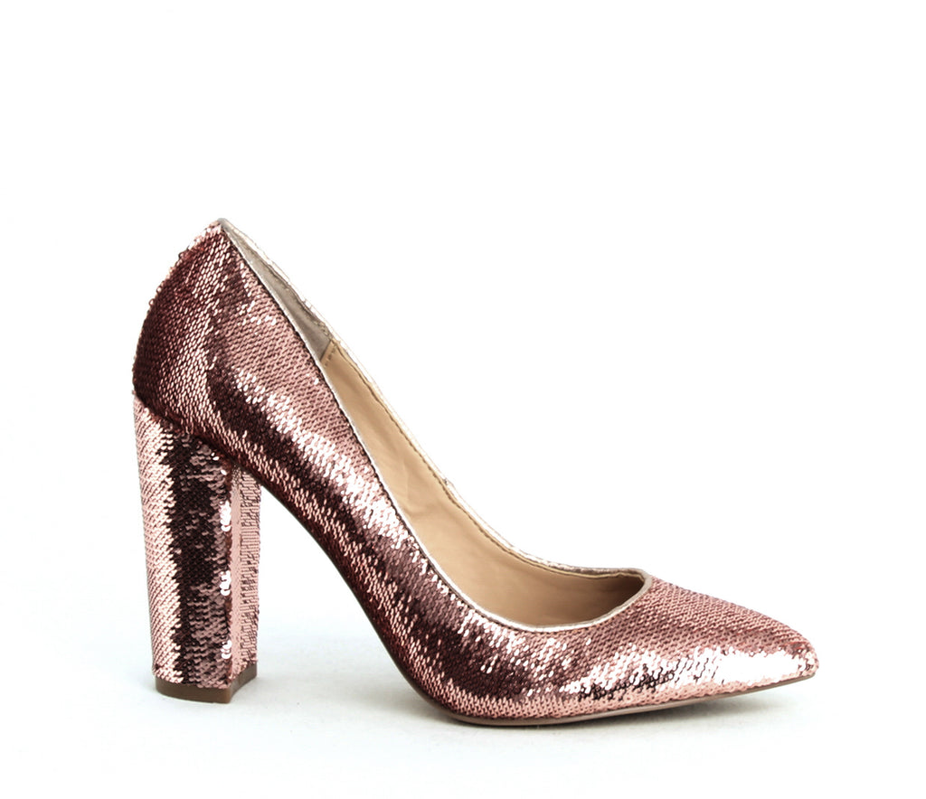 Yieldings Discount Shoes Store's Luxury Block Heel Pumps by Jewel by Badgley Mischka in Rose Gold