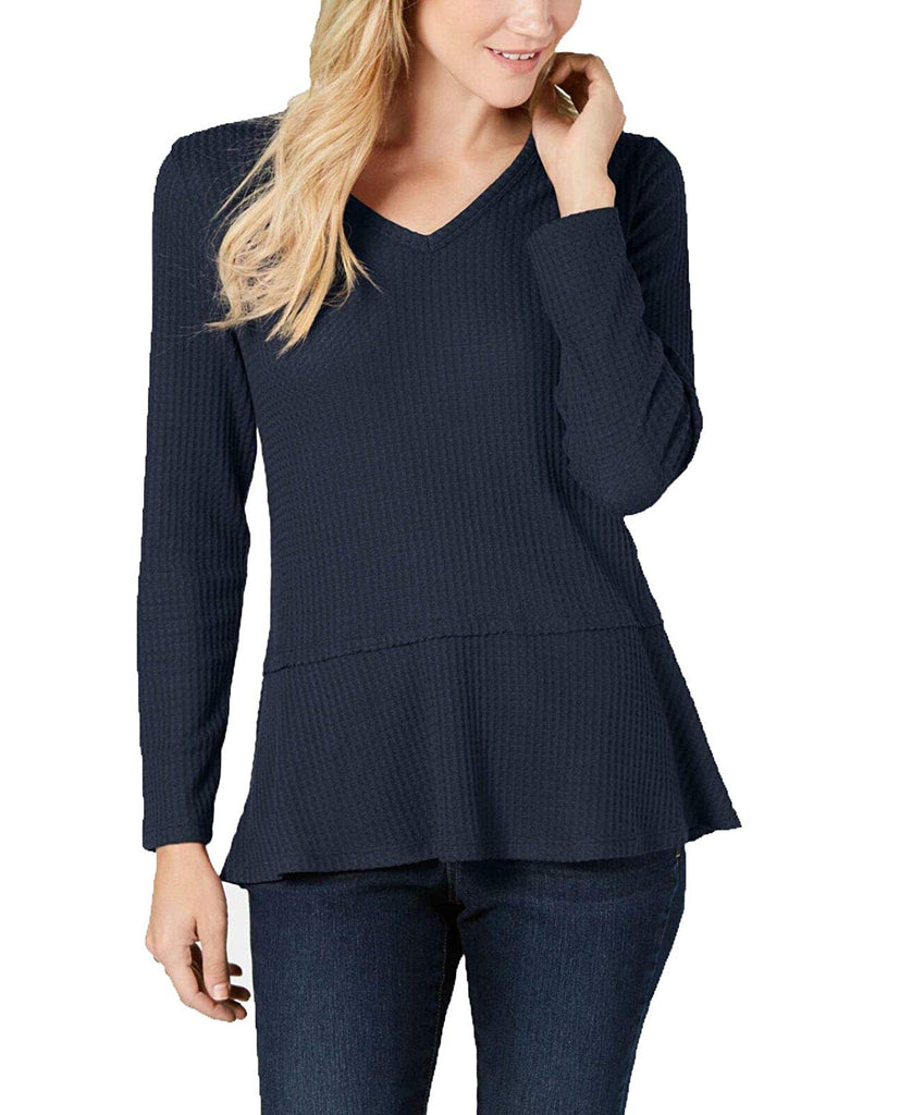 Style & Co | V-Neck Thermal Sweater