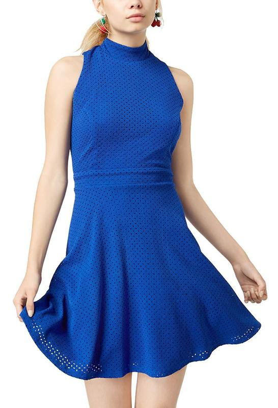 Yieldings Discount Clothing Store's Textured Mock-Neck Fit & Flare Dress by Emerald Sundae in Royal