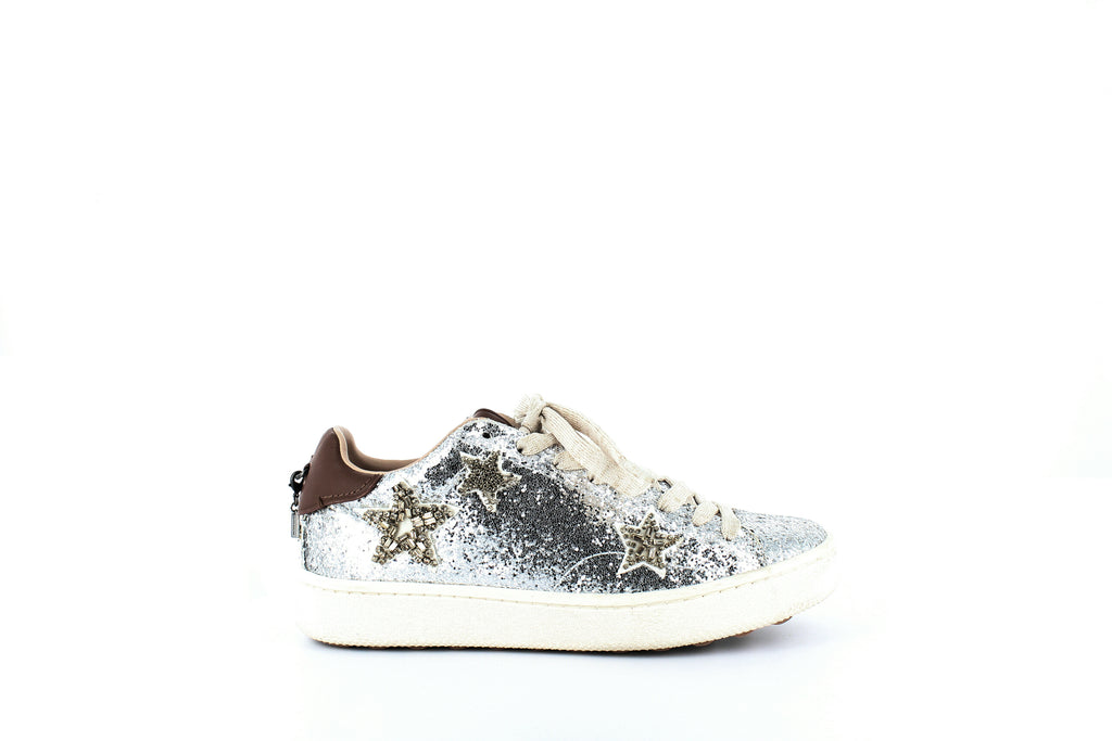 Yieldings Discount Shoes Store's C101 Low Top Sneakers by Coach in Silver/Saddle