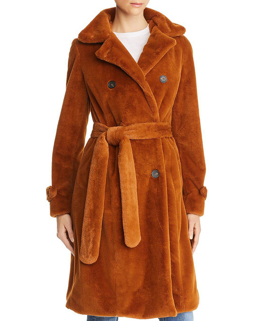 Yieldings Discount Clothing Store's Nicole Double-Breasted Faux-Fur Coat by Apparis in Chestnut
