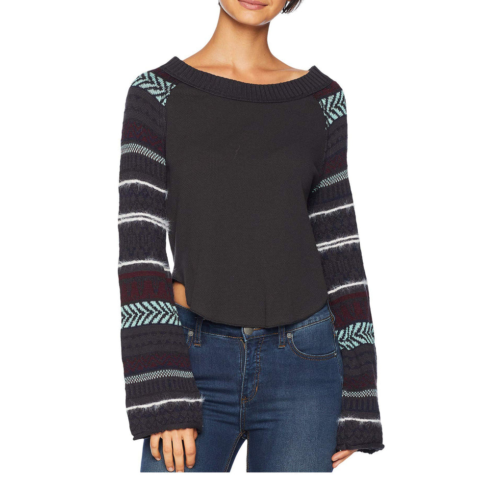 Yieldings Discount Clothing Store's Fairground Thermal Top by Free People in Washed Black Combo