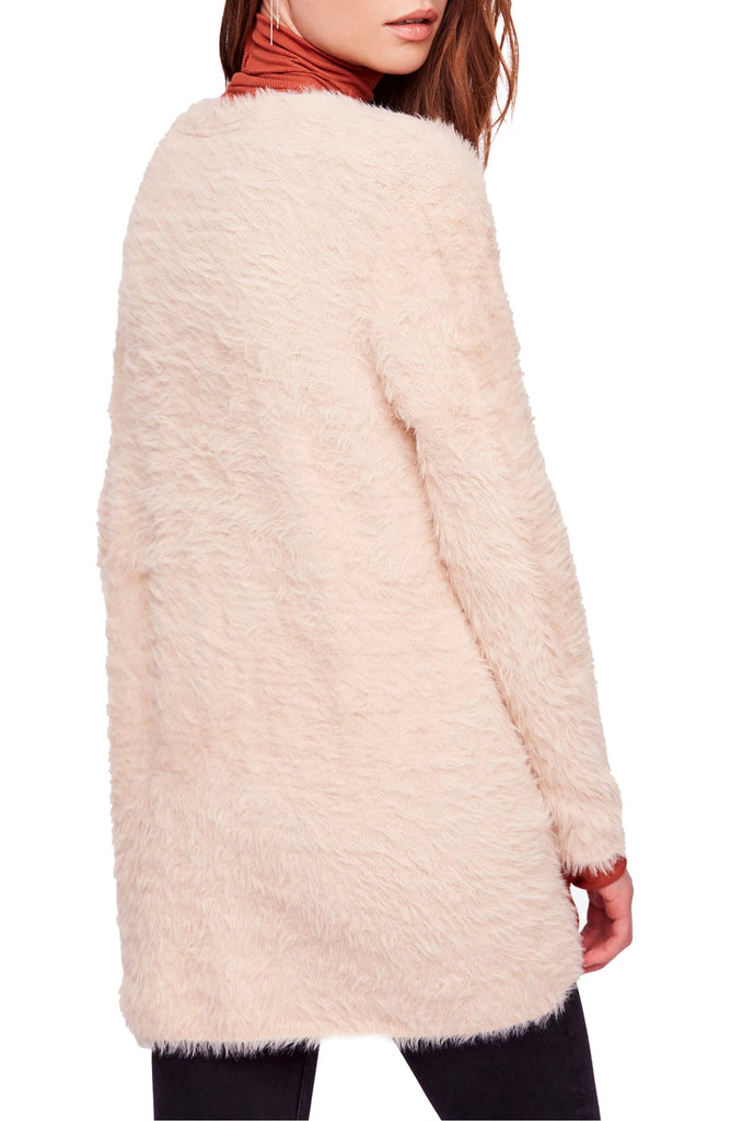 Yieldings Discount Clothing Store's Faux-Fur Open-Front Cardigan by Free People in Almond