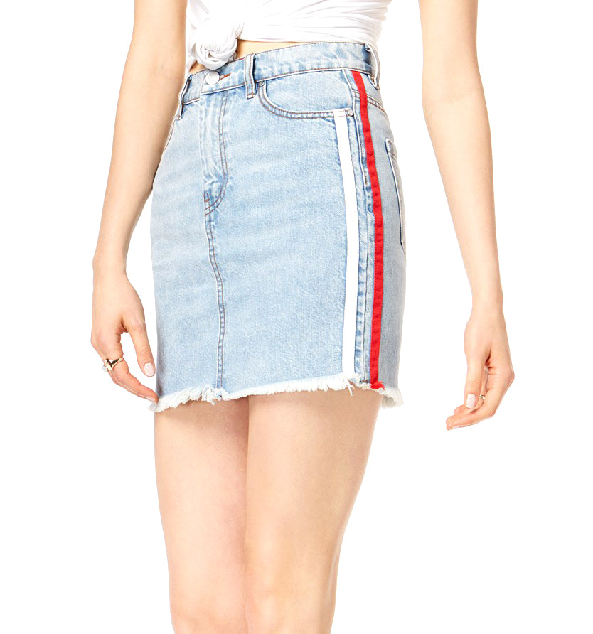 Yieldings Discount Clothing Store's Side-Stripe Denim Skirt by Kendall + Kylie in Blue