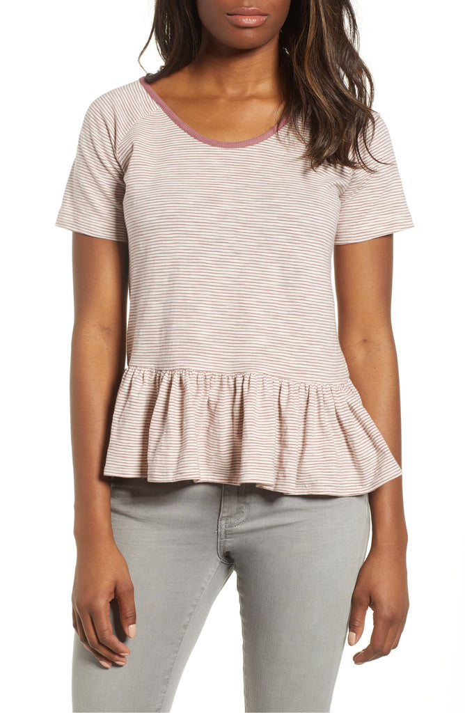 Yieldings Discount Clothing Store's Cotton Striped Peplum-Hem T-Shirt by Lucky Brand in Red
