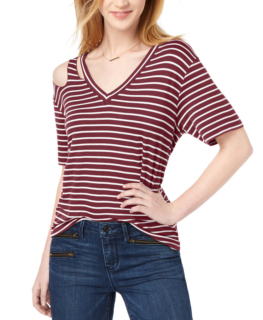 Yieldings Discount Clothing Store's Striped Cutout T-Shirt by Ultra Flirt in Burgundy Combo