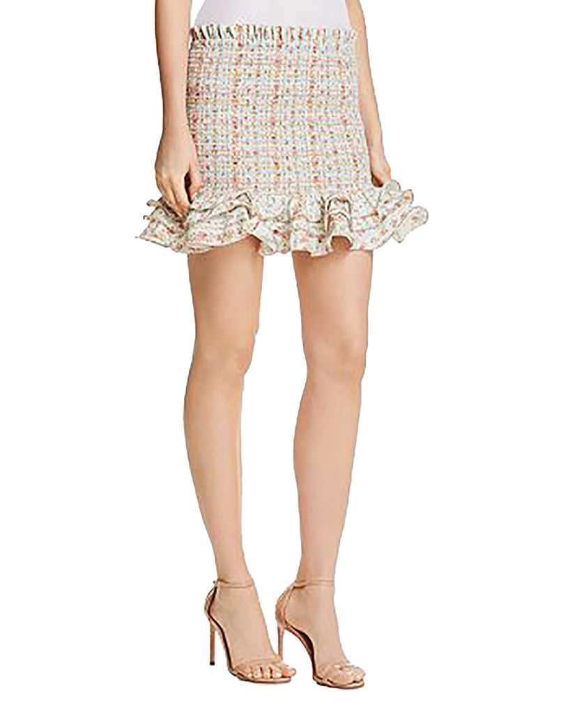 Yieldings Discount Clothing Store's Barrett Smocked Mini Skirt by Petersyn in Gazebo