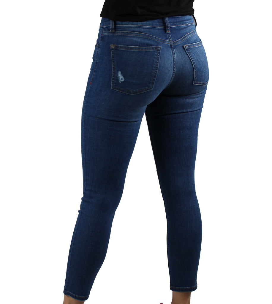 Yieldings Discount Clothing Store's JFK - Skinny Jeans by Warp + Weft in Mid Distressed