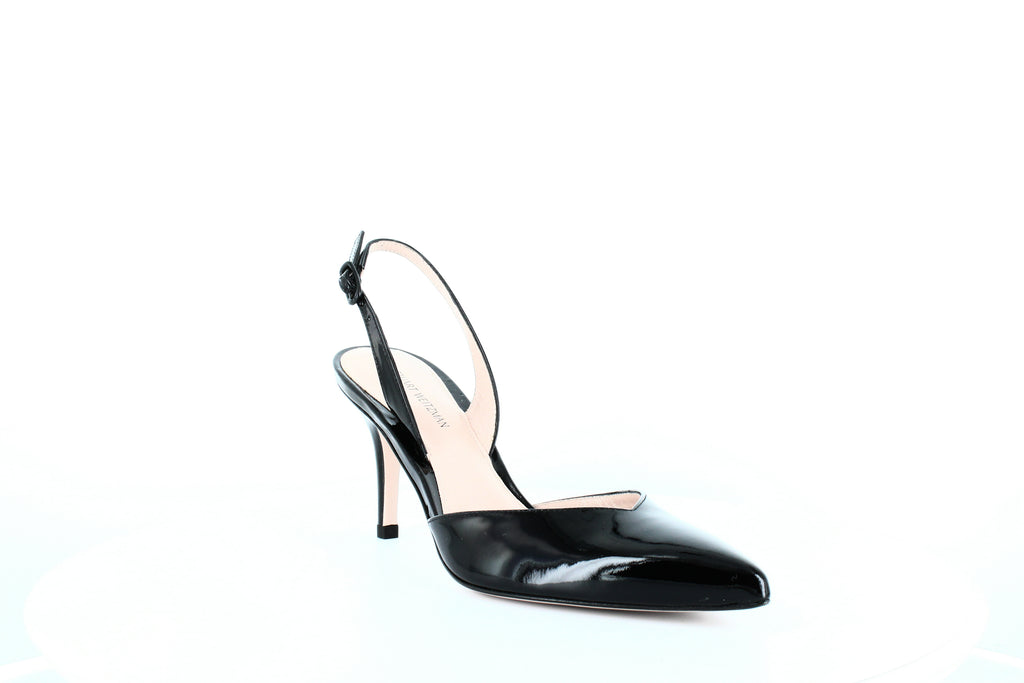 Yieldings Discount Shoes Store's Sleek Slingback Pumps by Stuart Weitzman in Black Patent
