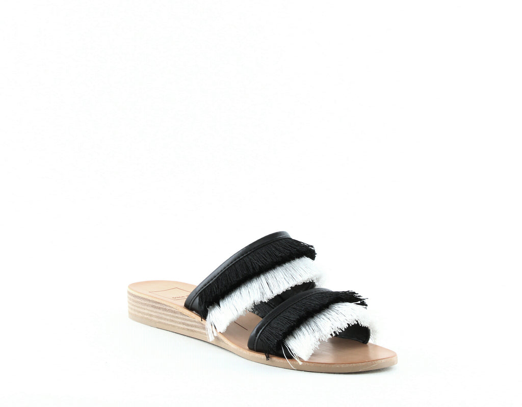 Yieldings Discount Shoes Store's Haya Slide Sandals by Dolce Vita in Black/White