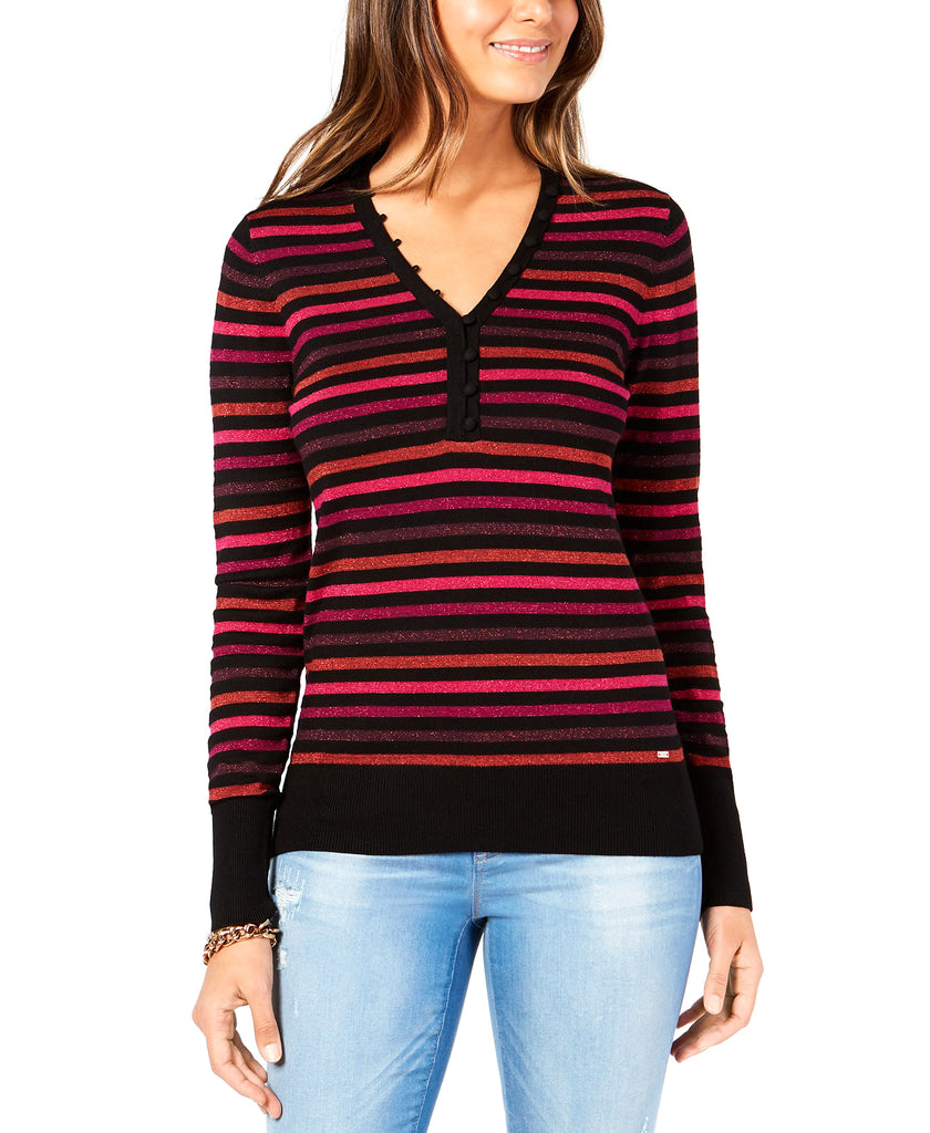 Yieldings Discount Clothing Store's Henley Stripe Pullover Sweater by Tommy Hilfiger in Black Multi