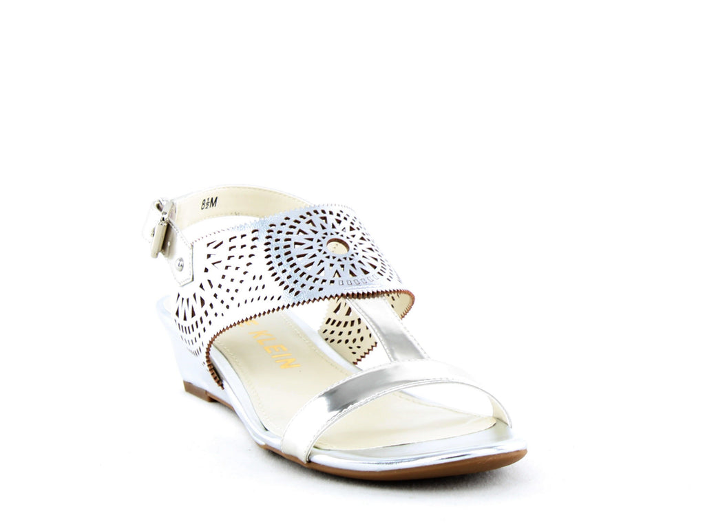 Yieldings Discount Shoes Store's Maddie Wedge Sandals by Anne Klein in Silver
