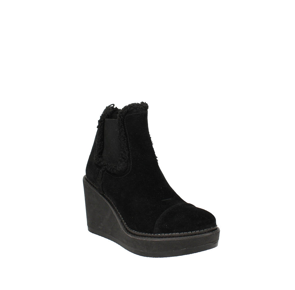 Yieldings Discount Shoes Store's Reagan Shearling Wedge Booties by Sam Edelman in Black