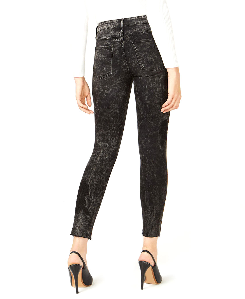 Yieldings Discount Clothing Store's Floral Sexy Curve Skinny Jeans by Guess in Carbon Black