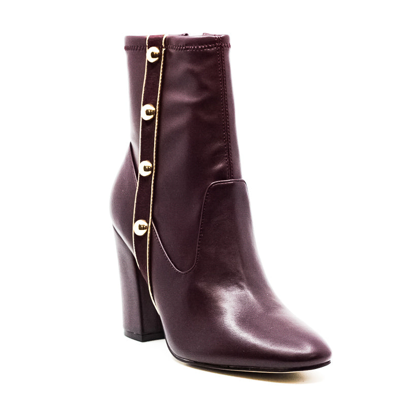 Yieldings Discount Shoes Store's Abela Block Heel Boots by Marc Fisher in Dark Red