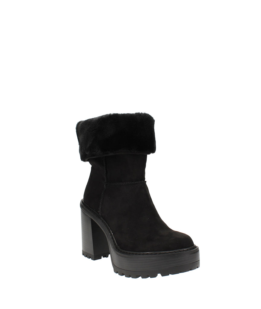 Yieldings Discount Shoes Store's Kayla Faux-Fur Platform Booties by Madden Girl in Black Fabric