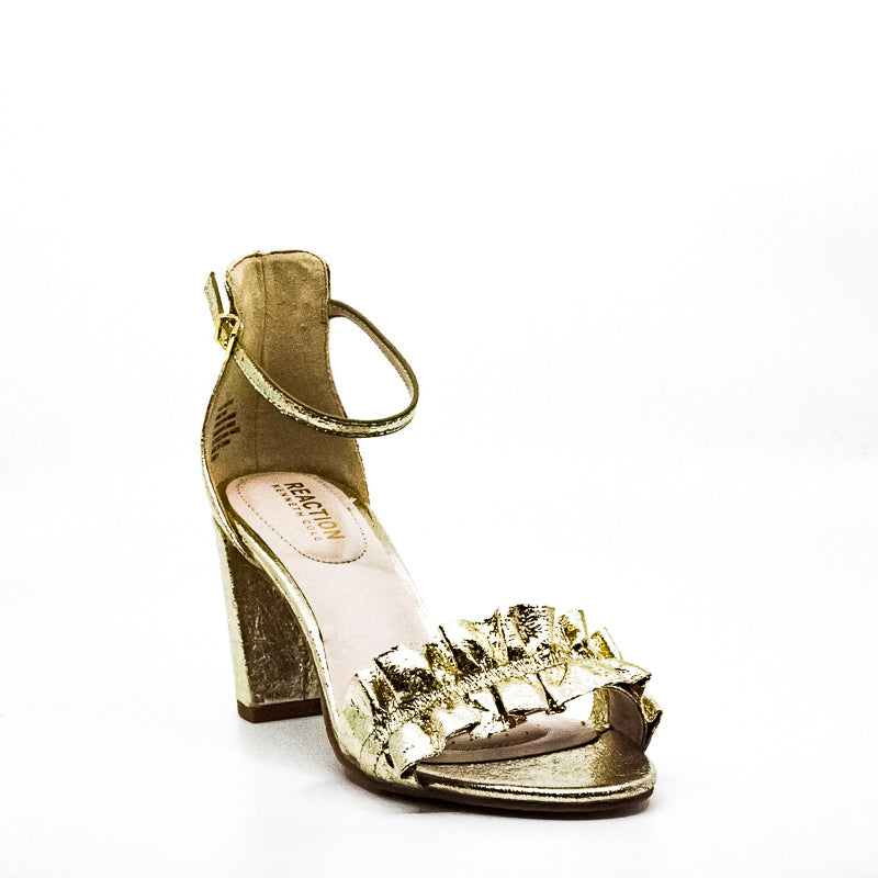 Yieldings Discount Shoes Store's Rise Ruffle Block Heel Sandals by Reaction Kenneth Cole in Gold
