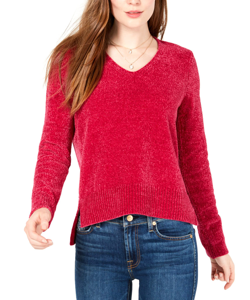 Yieldings Discount Clothing Store's V-Neck Chenille Sweater by Maison Jules in Chenille Red