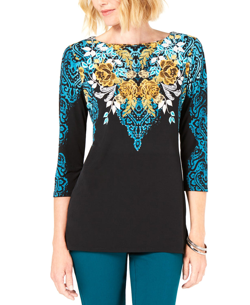 Yieldings Discount Clothing Store's Printed 3/4-Sleeve Top by JM Collection in Kaitlyn Cascade