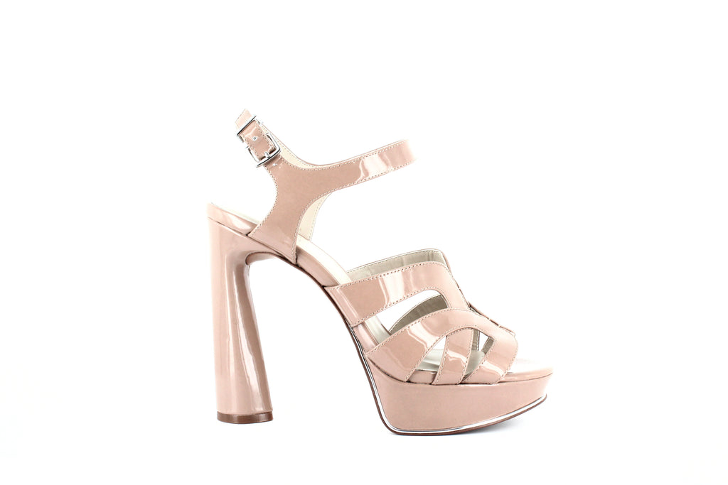 Yieldings Discount Shoes Store's Nealie Platform Heeled Sandals by Kenneth Cole in Dark Nude