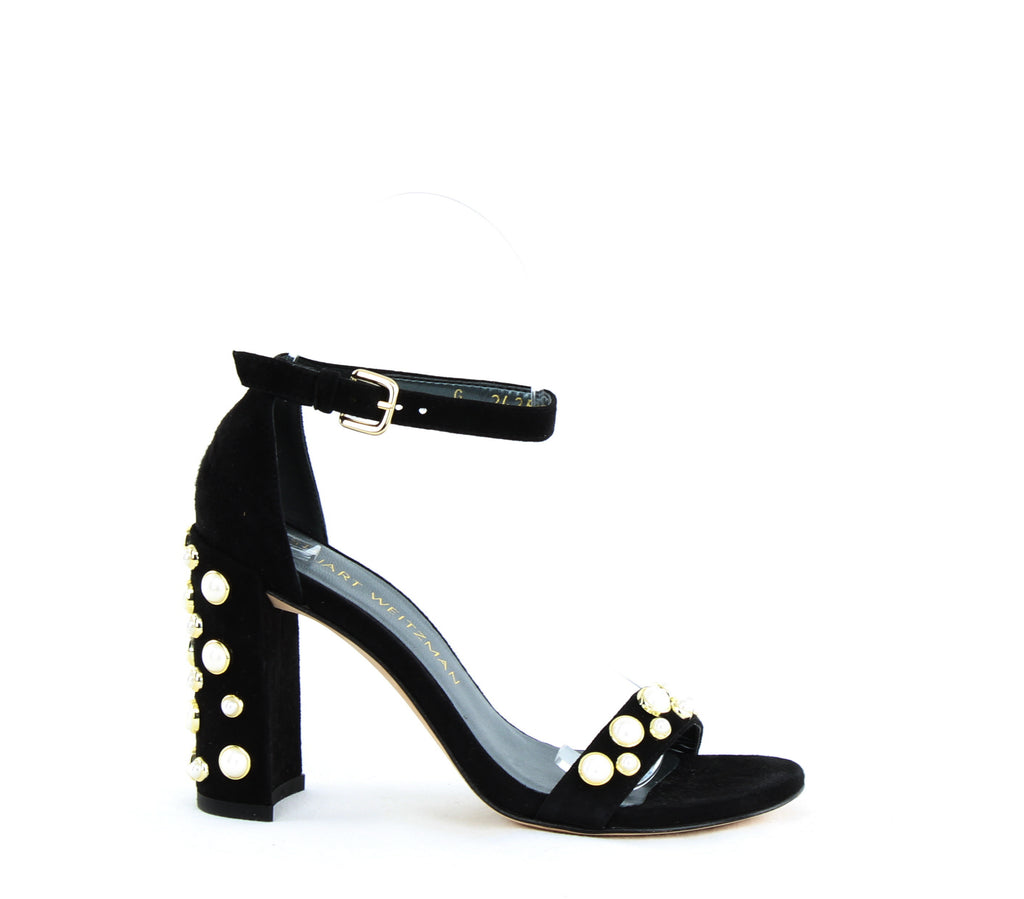 Yieldings Discount Shoes Store's Morepearls Pearl Studded Block Heels by Stuart Weitzman in Black Suede