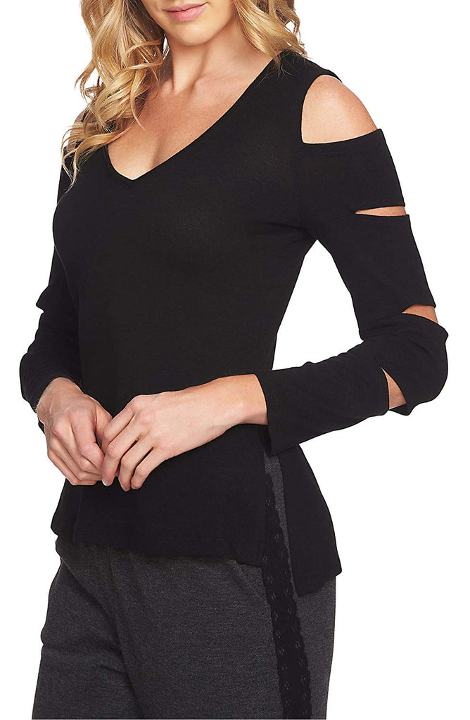Yieldings Discount Clothing Store's V-Neck Slit-Sleeve Sweater by 1.State in Rich Black