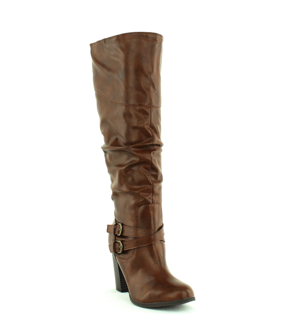 Yieldings Discount Shoes Store's Sophiie Ruched Boots by Style & Co in Cognac