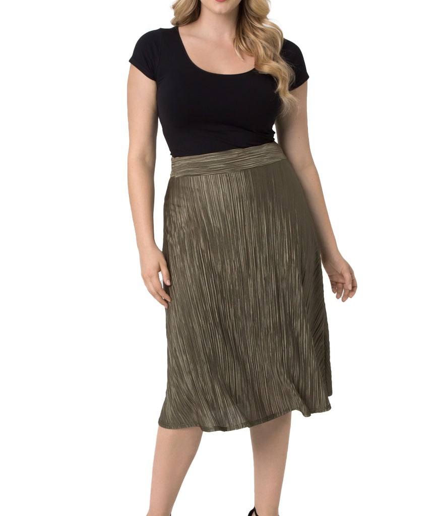 Yieldings Discount Clothing Store's A Crinkle in Time Skirt by Kiyonna in Olive