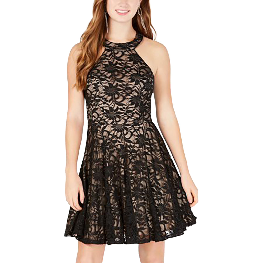 Yieldings Discount Clothing Store's Juniors' Lace Halter Scuba Dress by B Darlin in Black/Black/Nude