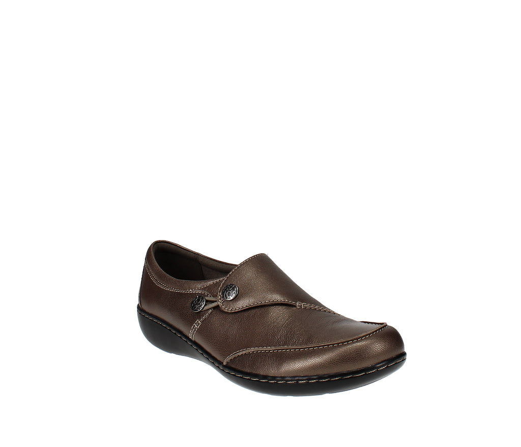 Yieldings Discount Shoes Store's Ashland Lane Slip On by Clarks in Pewter